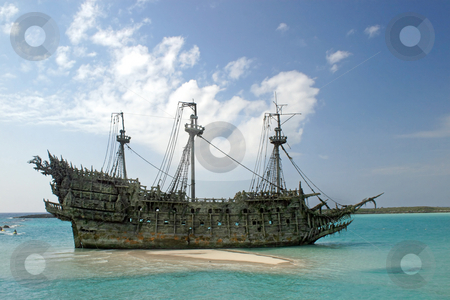 Caribbean Pirate Ship stock photo, A replica of an old ship in the Caribbean by Lucy Clark