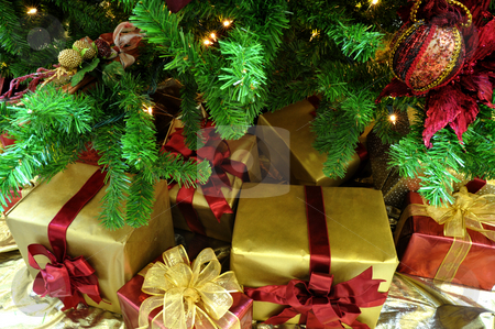 Christmas Gifrts Under The Tree stock photo, Gold and red wrapped Christmas gifts under a finely decorated tree by Lynn Bendickson