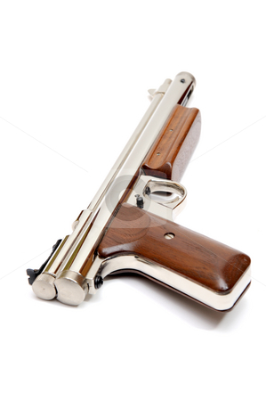 Pellet Pistol stock photo, Silver air gun gun with wooden grips and pump lever on a white background by Lynn Bendickson