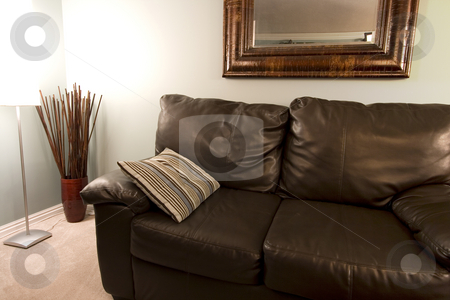 Corner of a Living Room stock photo, Close up on a Living Room with a pillow on the Couch by Mehmet Dilsiz