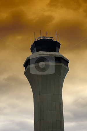 Air traffic control tower stock photo, Air Traffic Control Tower with Clouds on the Background by Mehmet Dilsiz