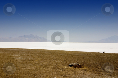 Salt Lake Shore with Blue Skies stock photo, Blue Skies above the White Salt Lake Deposits - Utah by Mehmet Dilsiz