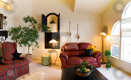 Classic Living Room stock photo, Classic Living Room with Lamps and Couches by Mehmet Dilsiz