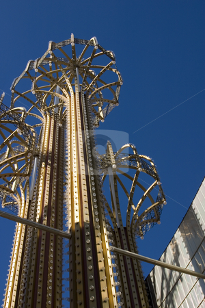 Metal Umbrellas with Bulbs and Lights in Las Vegas stock photo, Close up on the Metal Umbrellas with Bulbs and Lights in Las Vegas by Mehmet Dilsiz