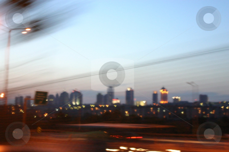 Downtown Istanbul at Night - Blurry stock photo, City at Night - Istanbul by Mehmet Dilsiz