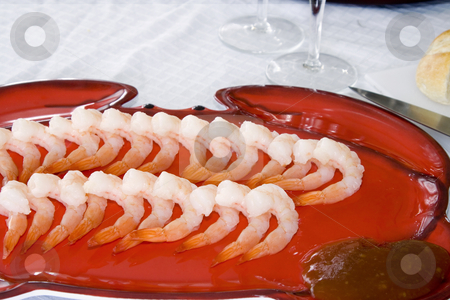 Shrimps on a Plate stock photo, Close up - Shrimps on a Plate by Mehmet Dilsiz