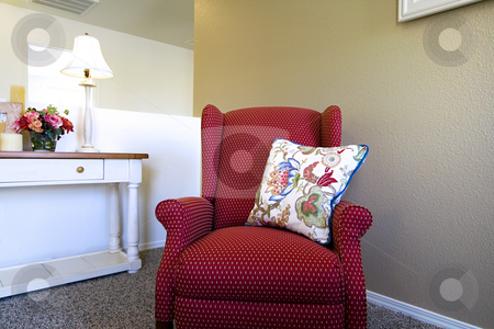 Trendy Modern Living Room stock photo, Close up on a Chair in a Trendy Modern Living Room by Mehmet Dilsiz