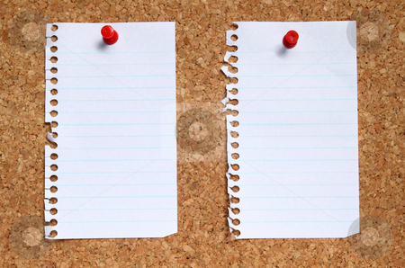 Two blank paper pages from a notebook pinned to a cork noticeboard. stock photo, Two blank paper pages from a notebook pinned to a cork noticeboard. by Stephen Rees