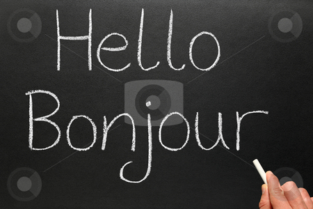 Bonjour, hello in French written on a blackboard. stock photo, Bonjour, hello in French written on a blackboard. by Stephen Rees