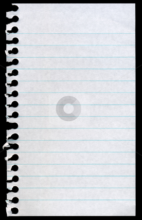 Blank torn notepaper page isolated on a black background. stock photo, Blank torn notepaper page isolated on a black background. by Stephen Rees