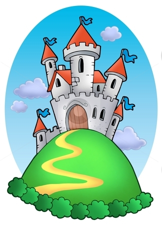 Fairy tale castle with clouds stock photo, Fairy tale castle with clouds - color illustration. by Klara Viskova