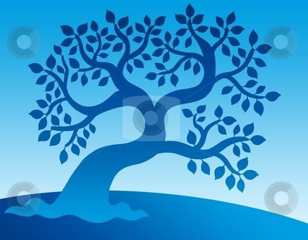Blue leafy tree stock photo, Blue leafy tree - color illustration. by Klara Viskova