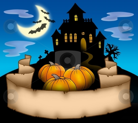 Haunted house with banner stock photo, Haunted house with banner - color illustration. by Klara Viskova