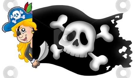 Lurking pirate girl with banner stock photo, Lurking pirate girl with banner - color illustration. by Klara Viskova