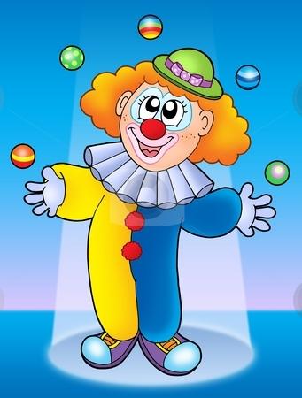 Juggling clown stock photo, Juggling clown on blue background - color illustration. by Klara Viskova