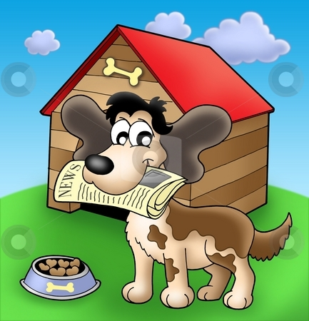 Dog with news in front of kennel stock photo, Dog with news in front of kennel - color illustration. by Klara Viskova
