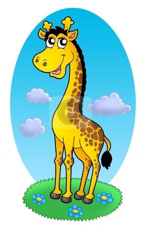 Cute giraffe standing on grass stock photo, Cute giraffe standing on grass - color illustration. by Klara Viskova