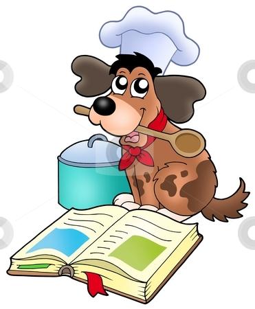 Cartoon dog chef with recipe book stock photo, Cartoon dog chef with recipe book - color illustration. by Klara Viskova