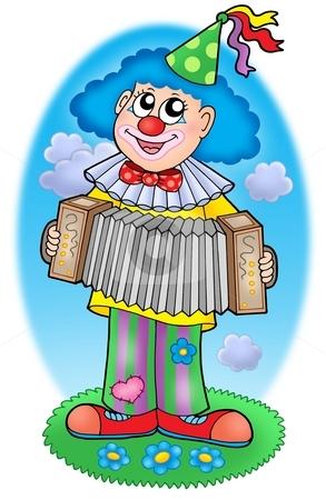 Clown with accordion on  meadow stock photo, Clown with accordion  on meadow - color illustration. by Klara Viskova