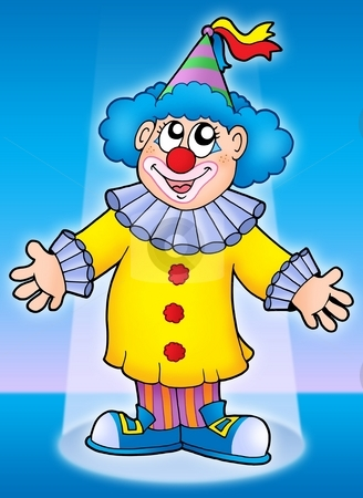 Cute clown stock photo, Cute clown on blue background - color illustration. by Klara Viskova