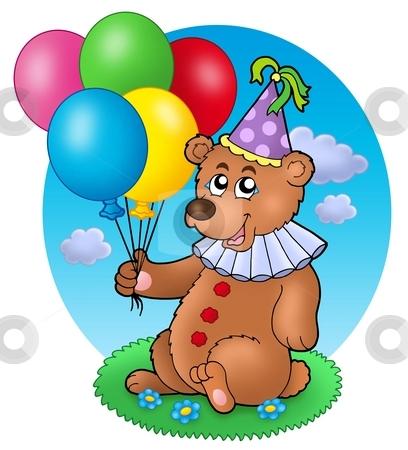 Bear clown with balloons on meadow stock photo, Bear clown with balloons on meadow - color illustration. by Klara Viskova
