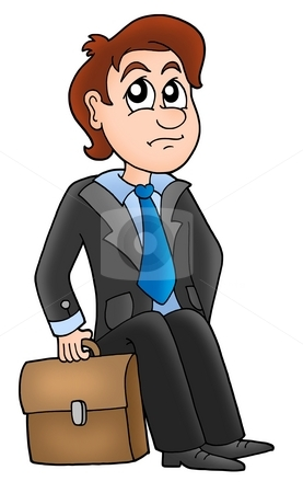 Siting manager stock photo, Sitting manager with briefcase - color illustration. by Klara Viskova