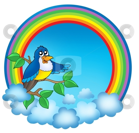 Rainbow circle with cute bird stock photo, Rainbow circle with cute bird - color illustration. by Klara Viskova