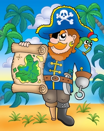 Pirate with treasure map on beach stock photo, Pirate with treasure map on beach - color illustration. by Klara Viskova