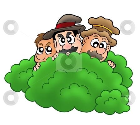 Cartoon robbers behind bush stock photo, Cartoon robbers behind bush - color illustration. by Klara Viskova