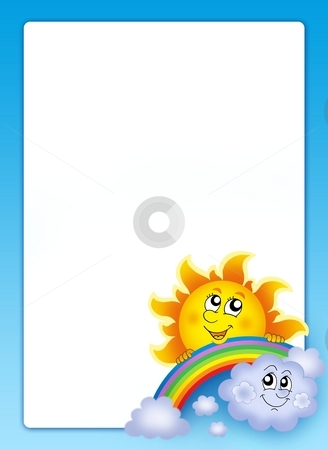 Frame with Sun and cloud stock photo, Frame with Sun and cloud - color illustration. by Klara Viskova