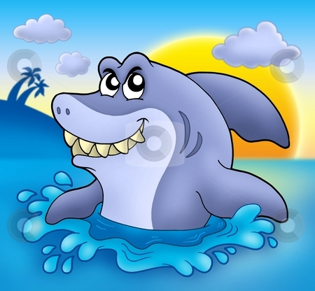 Cartoon shark with sunset stock photo, Cartoon shark with sunset - color illustration. by Klara Viskova