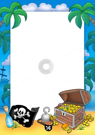 Frame with treasure chest stock photo, Frame with treasure chest - color illustration. by Klara Viskova