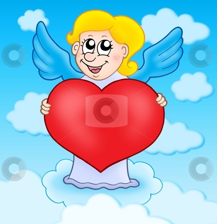 Cupid holding heart on sky stock photo, Cupid holding heart on sky - color illustration. by Klara Viskova