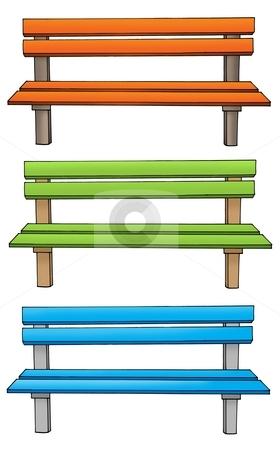 Three various benches stock photo, Three various benches - color illustration. by Klara Viskova