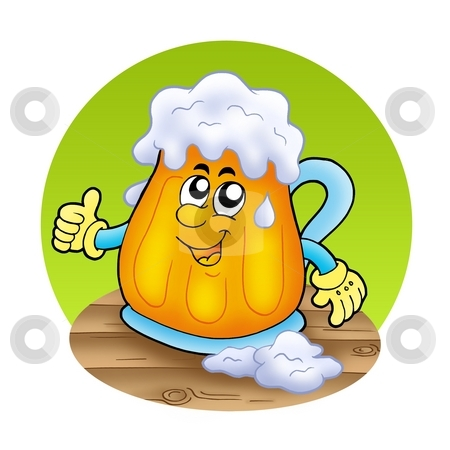Smiling cartoon beer on wooden table stock photo, Smiling cartoon beer on wooden table - color illustration. by Klara Viskova