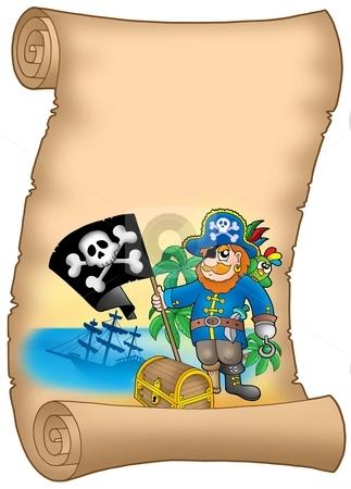 Parchment with pirate holding flag stock photo, Parchment with pirate holding flag - color illustration. by Klara Viskova