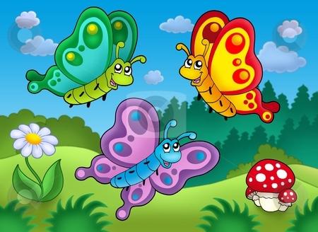 Three cute butterflies on meadow stock photo, Three cute butterflies on meadow - color illustration. by Klara Viskova