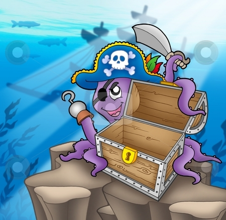 Pirate octopus with chest in sea stock photo, Pirate octopus with chest in sea - color illustration. by Klara Viskova