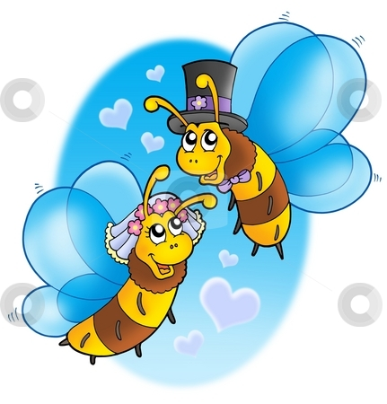 Honey bees wedding on sky stock photo, Honey bees wedding on sky - color illustration. by Klara Viskova