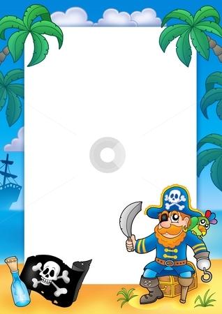 Frame with pirate 1 stock photo, Frame with pirate 1 - color illustration. by Klara Viskova