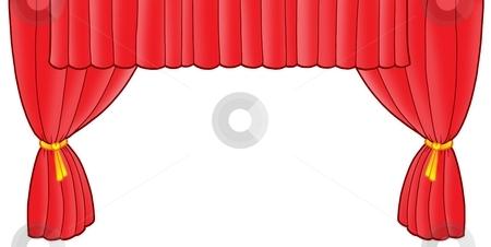 Red theatre curtain stock photo, Red theatre curtain - color illustration. by Klara Viskova