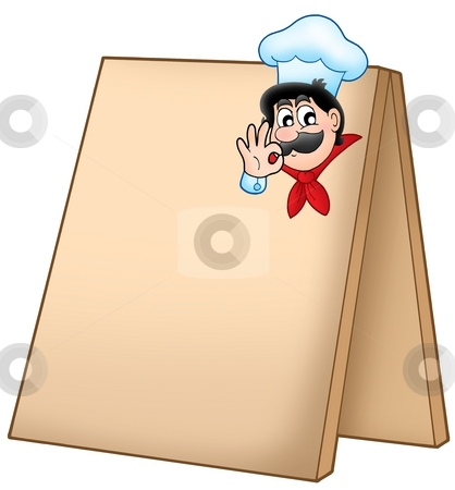Menu board with cartoon chef stock photo, Menu board with cartoon chef - color illustration. by Klara Viskova