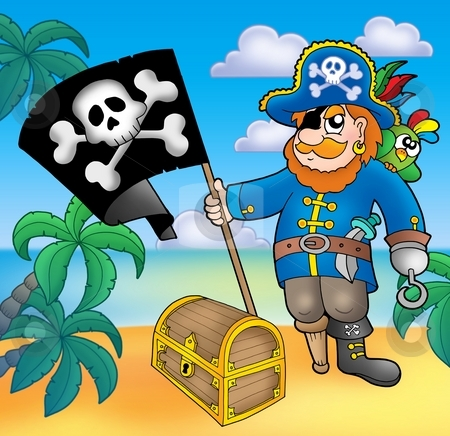 Pirate with flag on beach stock photo, Pirate with flag on beach - color illustration. by Klara Viskova