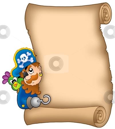 Parchment with lurking pirate stock photo, Parchment with lurking pirate - color illustration. by Klara Viskova