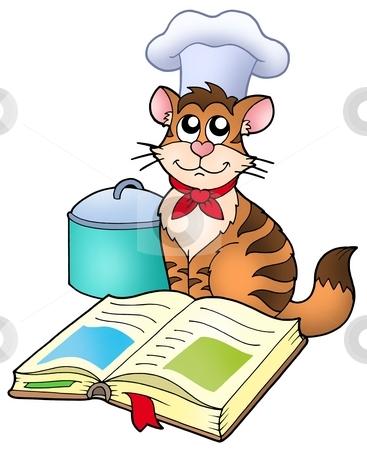 Cartoon cat chef with recipe book stock photo, Cartoon cat chef with recipe book - color illustration. by Klara Viskova