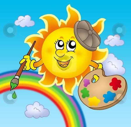 Sun artist with rainbow stock photo, Sun artist with rainbow - color illustration. by Klara Viskova