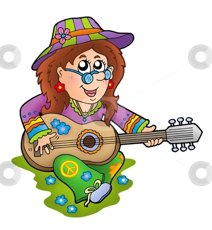 Hippie guitar player outdoor stock photo, Hippie guitar player outdoor - color illustration. by Klara Viskova