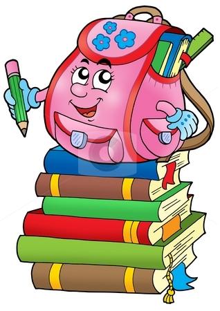 Pink school bag on books stock photo, Pink school bag on books - color illustration. by Klara Viskova