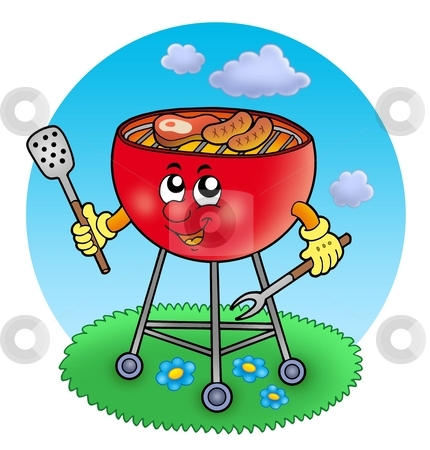 Cartoon barbeque in garden stock photo, Cartoon barbeque in garden - color illustration. by Klara Viskova
