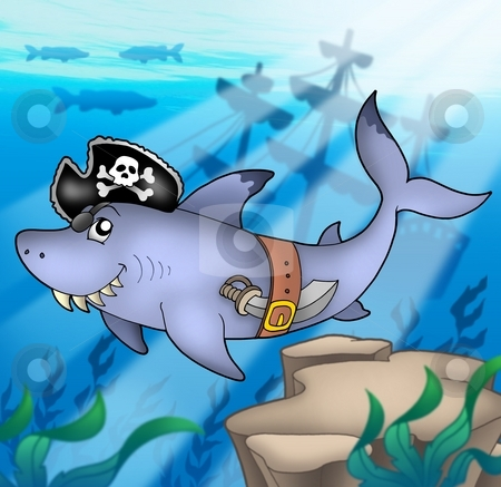 Cartoon pirate shark with shipwreck stock photo, Cartoon pirate shark with shipwreck - color illustration. by Klara Viskova